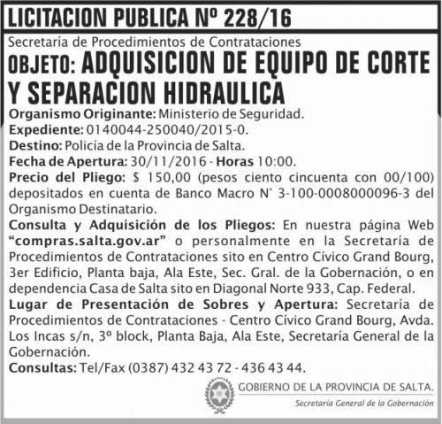 Licitación: Licitación Pública Nº 228/16