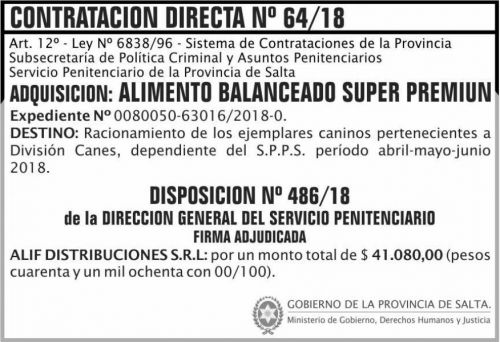 Concurso de Precios: Contratacion Directa Adjudicada 64 SPPS MDHJ