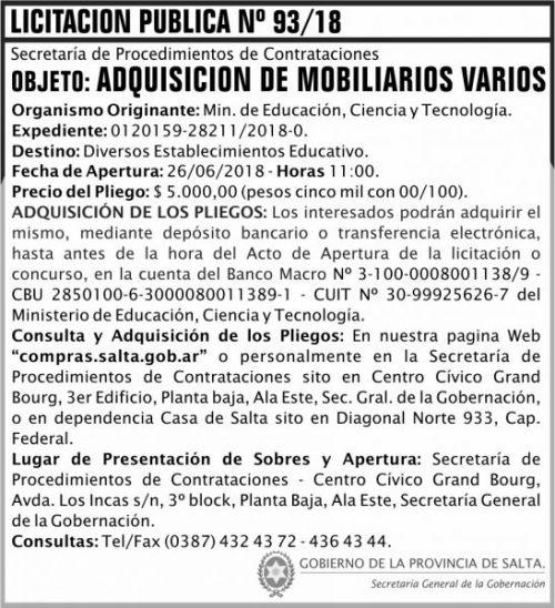 Licitación: Licitacion Publica 93 SGG MECT