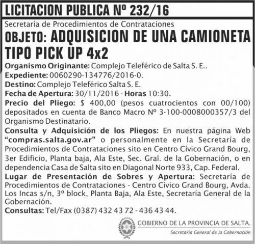Licitación: Licitación Pública Nº 232/16
