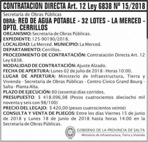 Compra Directa: Contratacion Directa 15 MITV