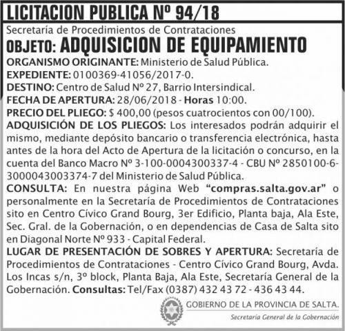 Licitación: Licitacion Publica 94 SGG MSP