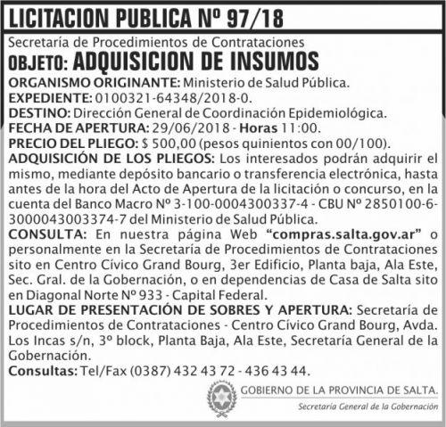 Licitación: Licitacion Publica 97 SGG MSP