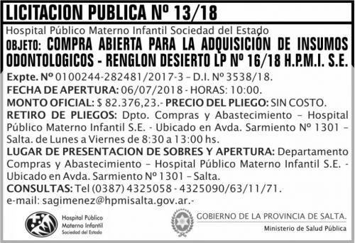 Licitación: Licitacion Publica 13 MSP HPM