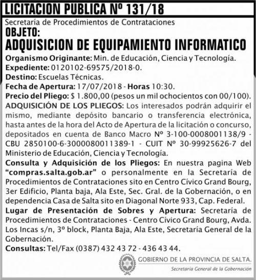 Licitación: Licitacion Publica 131 SGG MECT