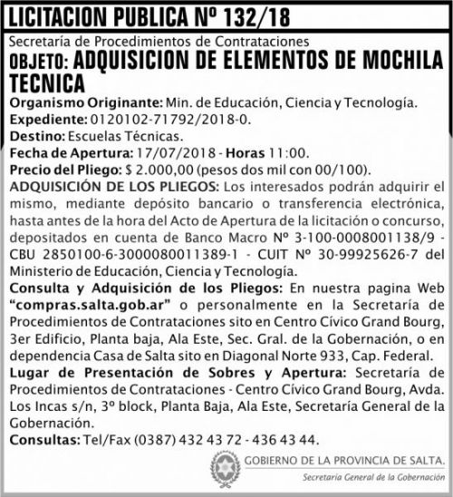 Licitación: Licitacion Publica 132 SGG MECT