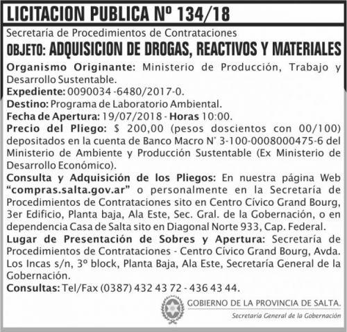 Licitación: Licitacion Publica 134 SGG MPTDS