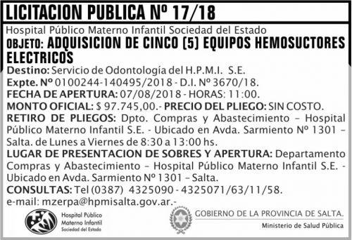 Licitación: Licitacion Publica 17 MSP HPM