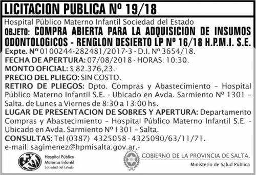 Licitación: Licitacion Publica 19 MSP HPMI