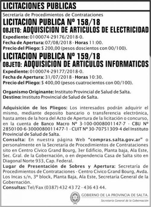 Licitación: Licitacion Publica 158 y 159 SGG IPS