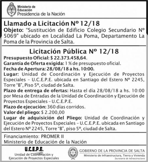 Licitación: Licitacion Publica 12 MEDN Ucepe