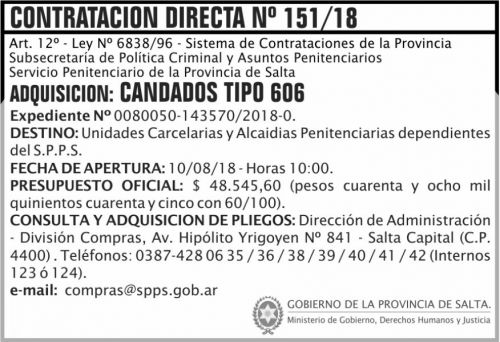 Concurso de Precios: Contratacion Directa 151 SPPS MDHJ