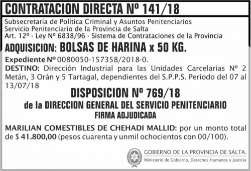 Concurso de Precios: Contratacion Directa Adjudicada 141 SPPS MDHJ