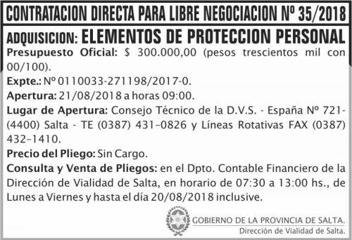 Concurso de Precios: Contratacion directa libre negociacion 35 DVS