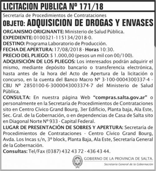 Licitación: Licitacion Publica 171 SGG