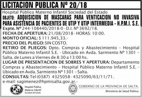 Licitación: Licitacion Publica 20 MSP HPMI
