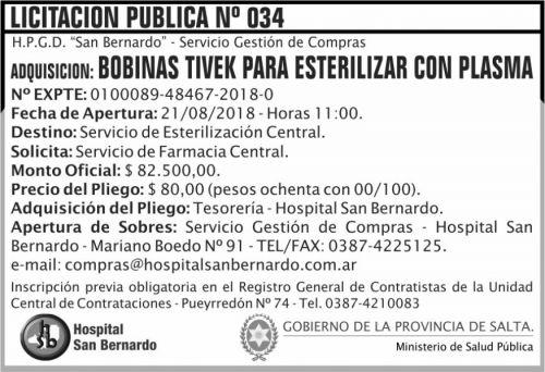 Licitación: Licitacion Publica 34 MSP SB