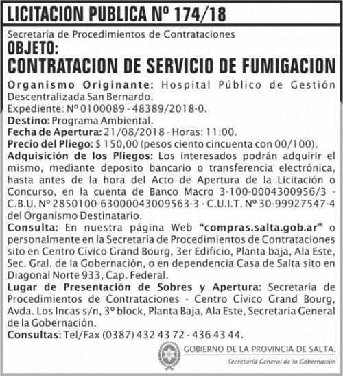Licitación: Licitacion Publica 174 SGG SB