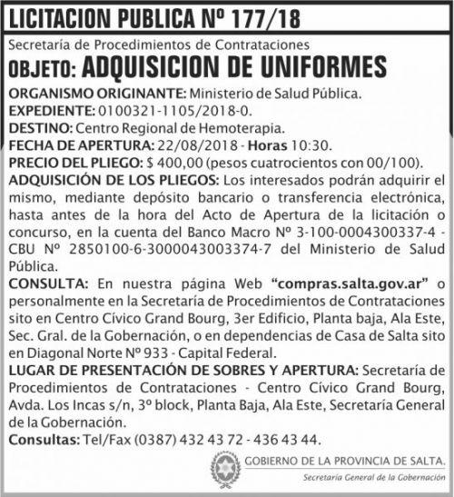 Licitación: Licitacion Publica 177 SGG MSP