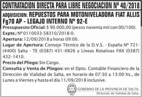 Edictos / Comunicados: Contratacion directa libre negociacion 40 DVS