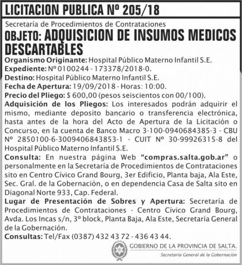Licitación: Licitacion Publica 205 SGG HPMI