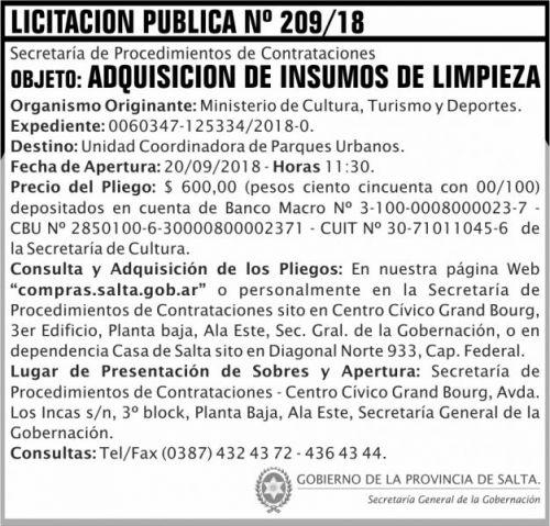 Licitación: Licitacion Publica 209 SGG MCTD