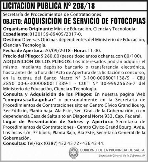 Licitación: Licitacion Publica 208 SGG MECT