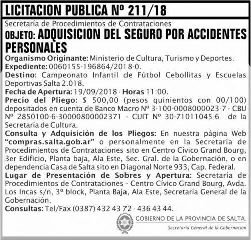 Licitación: Licitacion Publica 211 SGG MCTD