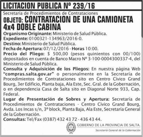 Licitación: Licitación Pública Nº 239/16