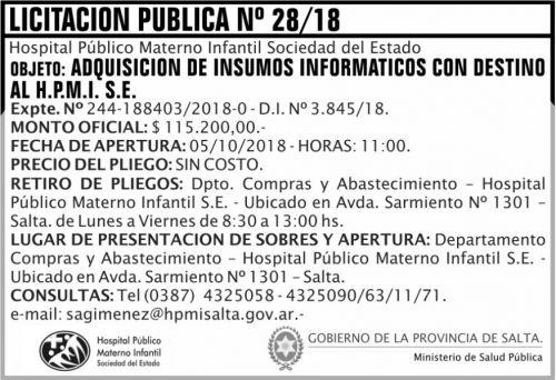 Licitación: Licitacion Publica 28 MSP HPM