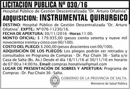Licitación: Licitación Pública Nº 030/16