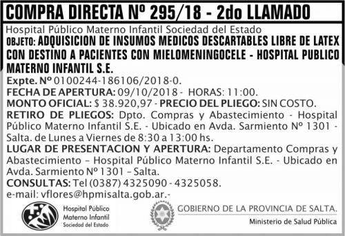 Compra Directa: Compra Directa 295 MSP HPMI 2DO LLAMADO