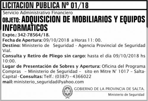 Licitación: Licitacion Publica 01 MS SAF