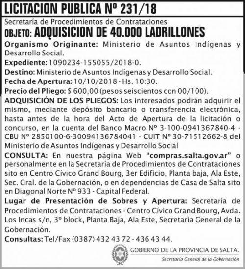 Licitación: Licitacion Publica 231 SGG