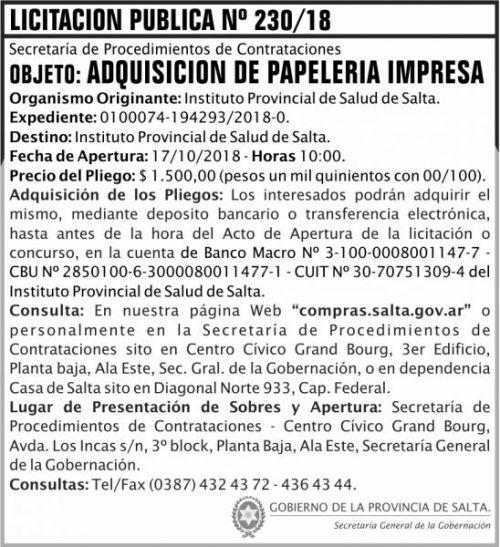 Licitación: Licitacion Publica 230 SGG IPS