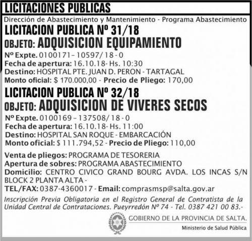 Licitación: Licitacion Publica 31 y 32 MSP