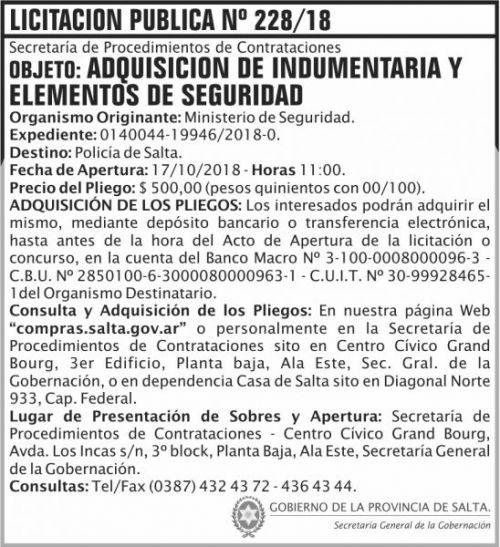 Licitación: Licitacion Publica 228 SGG MS