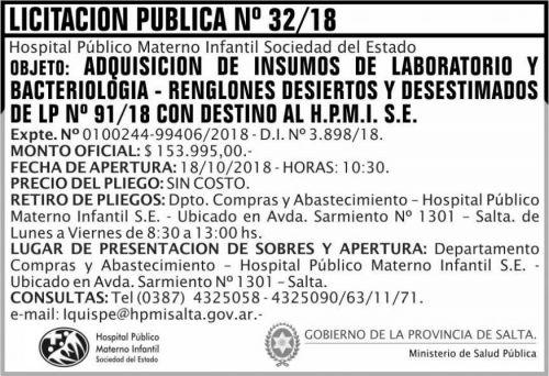 Licitación: Licitacion Publica 32 MSP HPMI