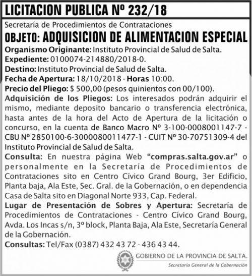 Licitación: Licitacion Publica 232 SGG IPS