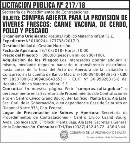 Licitación: Licitacion Publica 217 SGG HPMI