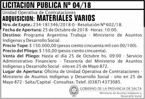Licitación: Licitacion Publica 04 MAIDS 2x5 ND