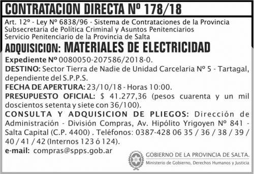 Licitación: Contratacion Directa 178 SPPS MDHJ 2x5