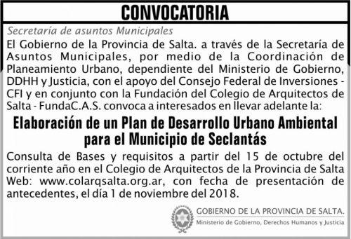 Licitación: CONVOCATORIA Plan Urbano Seclantas 2x5