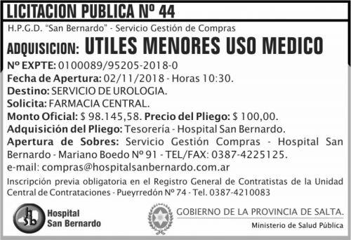 Licitación: Licitacion Publica 44 MSP SB 2x5