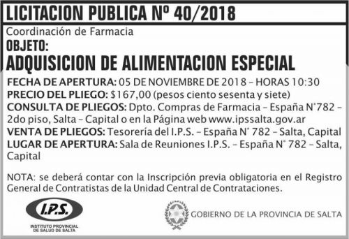 Licitación: Licitacion Publica 40 IPS 2x5 ND