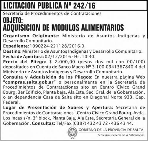 Licitación: Licitación Pública Nº 242/16