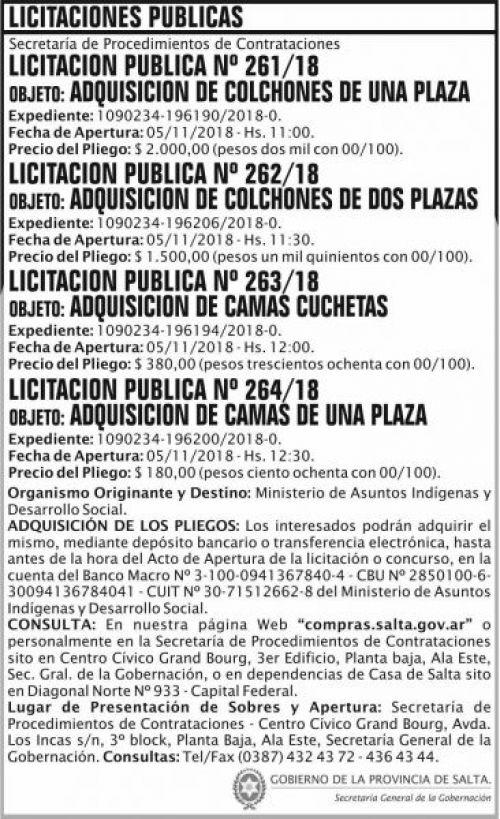 Licitación: Licitacion Publica 261 262 263 264 SGG MAIDC 2x12