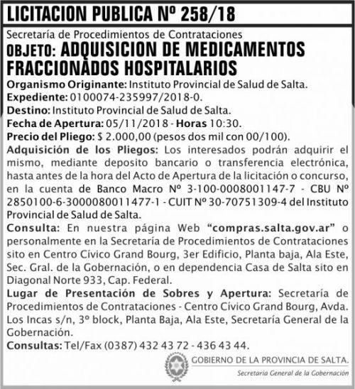 Licitación: Licitacion Publica 258 SGG IPS 2x8 N