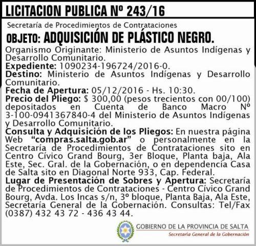 Licitación: Licitación Pública Nº 243/16