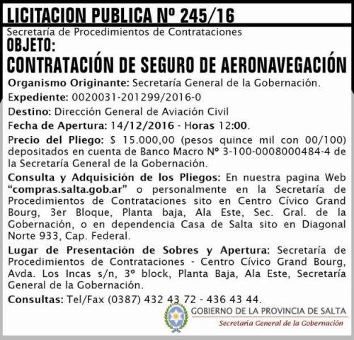 Licitación: Licitación Pública Nº 245/16